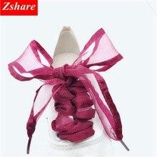 1 Pair 4cm Width Shoelaces Fashion Satin Ribbon Snow Yarn Shoe laces Organza Flat Sport ShoeLace 80 100 120 140CM Strings ME1