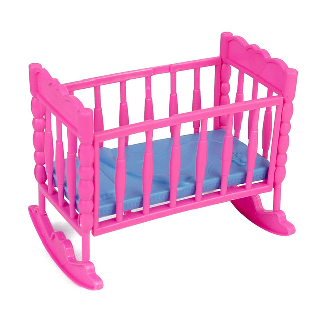 Barbie bed for doll crib plastic DIY assembly dollhouse miniature bed cot  toy living room pretendplay. Barbie bed for doll crib plastic DIY assembly dollhouse miniature