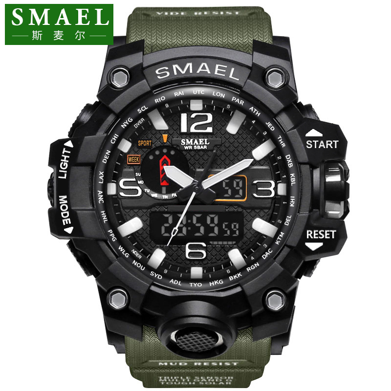SMAEL Sport Watches for Men Waterproof Digital Clock LED Men's Wristwatch Clock Man 1545 montre homme Big Men Watches Military