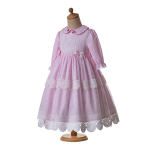 Image 3 - Pettigirl New Pink Girl Maxi Dress Lace Long Dress  With Hair Accessories AndFlower Boutique Kids Clothing (Dress under Knee)