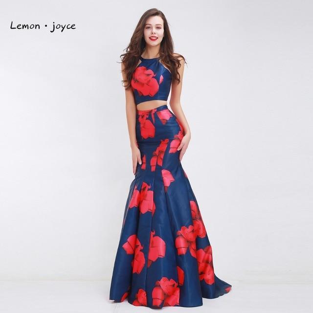 Платье из двух частей длиной 2017 с цветочным рисунком Русалка вечернее платье О-образным вырезом простой длина пола Vestido De Noiva Плюс размер