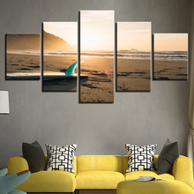 Canvas Wall Art Pictures Living Room Home Decor 5 Pieces Sunshine Beach Surf  Board Seascape Paintings HD Prints Poster No Framed