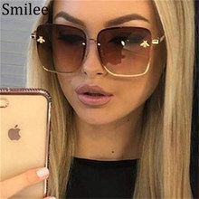 Bee Square Sunglasses Women Fashion 2019 Luxury Brand Desginer Shades Black Metal Frame Gradient Retro Glasses Men Points UV400(China)