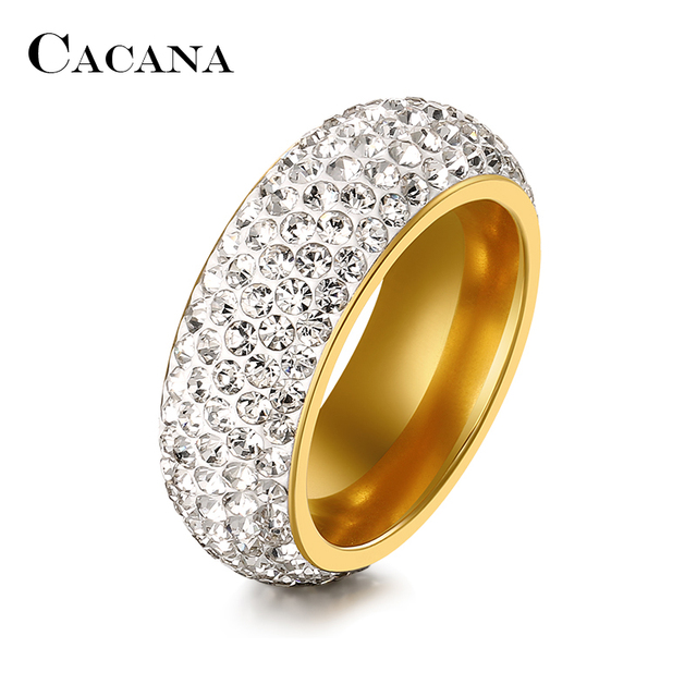 CACANA Titanium Stainless Steel Rings For Women Cubic Zirconia Wedding Ring Fash