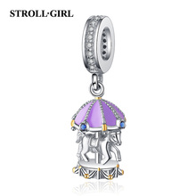Strollgirl Fit Pandora Bracelet New 100% 925 Sterling Silver Cute Carousel Beads purple Merry-Go-Round Charm For Girl Gift