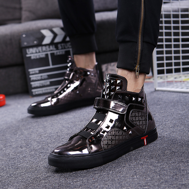 Zapatos Oxfords Motocicleta Masculino Sapatos Couro Mens Inglaterra Sapato De Boots Plataforma Hip Ankle Casual Estilo Hop Respirável Plana 4qA4vag
