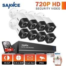 SANNCE 8CH 1080P CCTV System 720P Security Camera Waterproof IR Night Vison Home Security Camera Surveillance Kit 1TB HDD