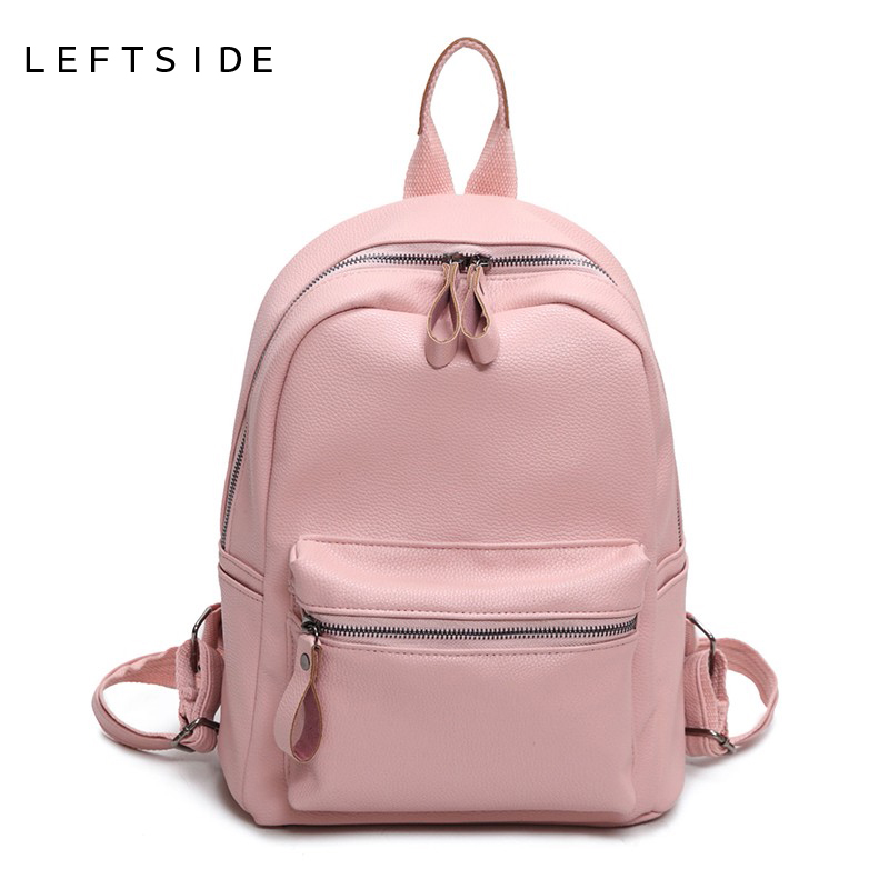 LEFTSIDE Women Backpack Casual PU Leather Ladies Feminine Backpacks For Teenage Girls School Bag Bagpack Black Schoolbag