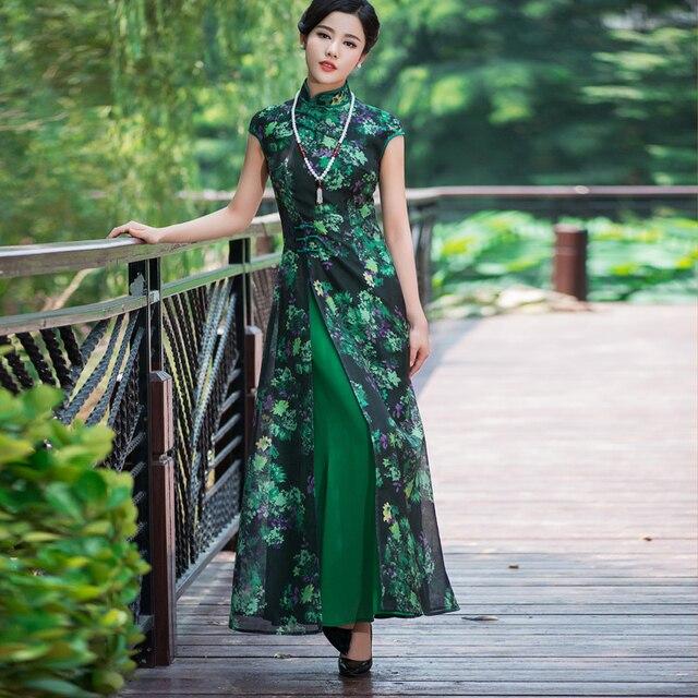 a6bf10cf0 green Vietnam ao dai Chinese traditional dress chinese dress qipao long Chinese  cheongsam dress robe chinoise modern cheongsam