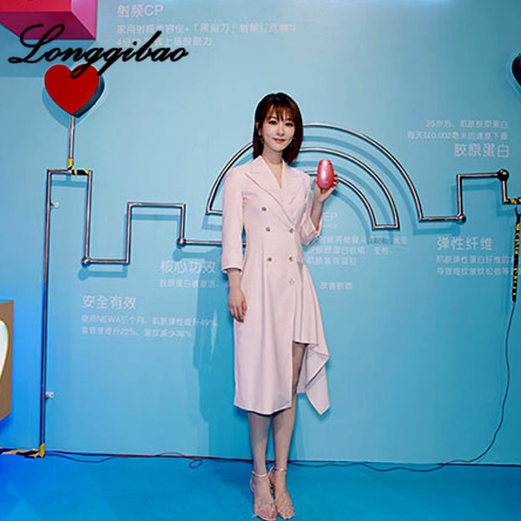 High quality 2019 fashion women's foreign style irregular suit dress fragrance wind waist Hong Kong style cool wind dress - 3
