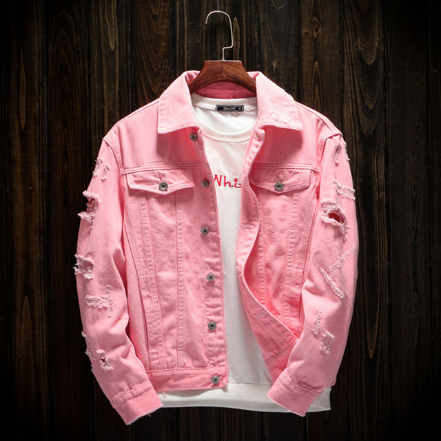 fe9924cdfe69b New Style Men s Denim Outerwear Men s Denim Jacket Fashion Jeans Autumn  Spring Denim Jackets Coat Classic Pink