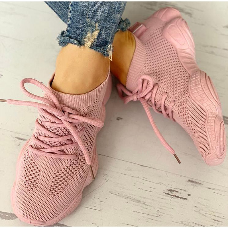 HTB1UVdGSCzqK1RjSZFpq6ykSXXaY Women Mesh Spring Sneakers Ladies Lace Up Stretch Fabric Platform Flat Vulcanized Casual Shoes Female Breathable Fashion