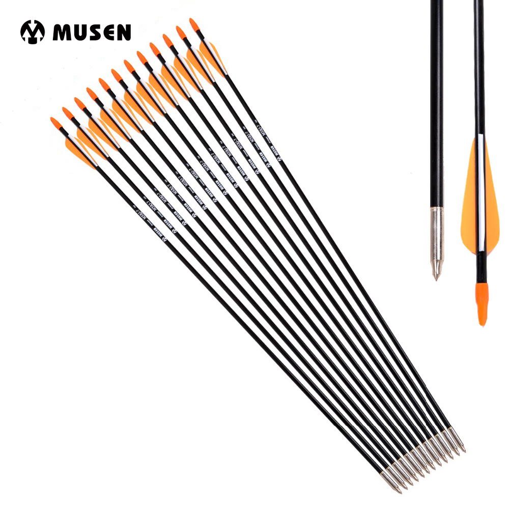 Wholesale Fiberglass Arrow 31 Inches Spine 700 With Orange Feather For Recurve Bow Or Long Bow Archery Hunting
