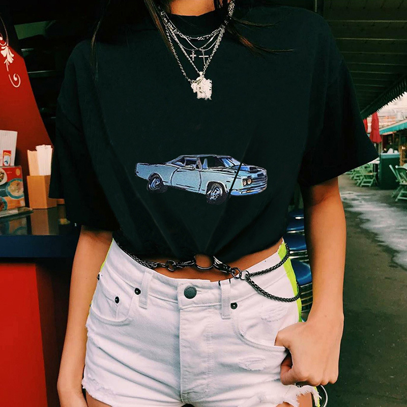 Short Sleeve Black Graphic T Shirt Women Clothes Spring Summer Sexy Hip Hop Car Printing Tshirt with Chain Cropped Tops Tee