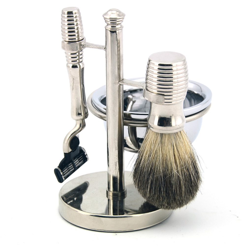 ZY Luxury Shaving Set 3 Layers Straight Razor Badger Hair Shaving Brush Alloy Metal Stand Father's Day Gift