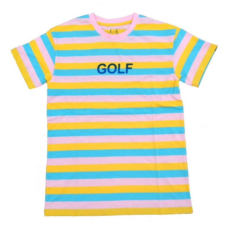 Nouveau 2019 rayé golf Le Fleur Tyler Le créateur T-Shirts T-Shirt Hip Hop Skateboard rue coton T-Shirts T-Shirt # AB50