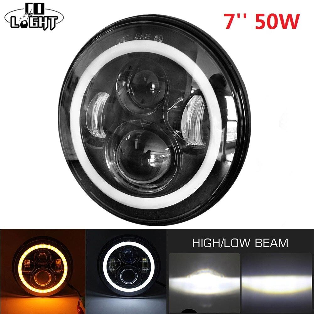 CO LICHT 7 ''50 watt 30 watt H4 Tagfahrlicht Engel Augen für LADA GAZ Toyota Das Auto harley Motorrad Bike DRL Scheinwerfer