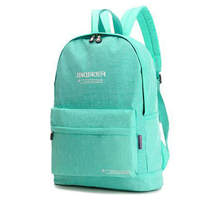 2015 New Women Limited Hot Sale Zipper Backpack Female Kip Style Solid Color Fashion Nylon Waterproof School Bags For Teenagers