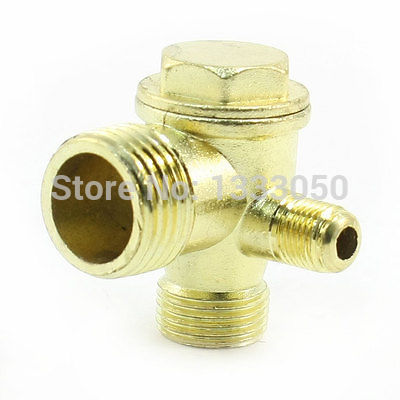3 Way Brass Male Threaded Check Valve Tool for Air Compressor m m 13mm to 9mm male thread air compressor inline manual valve