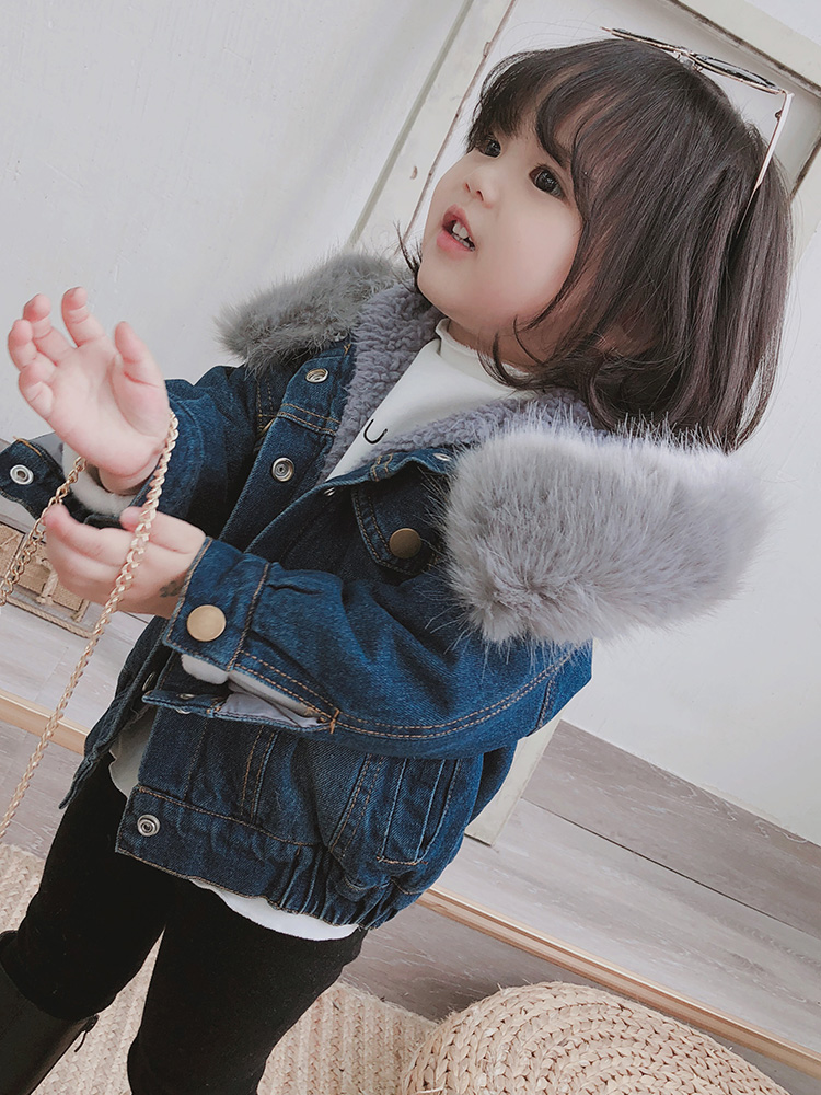 2018 Winter Clothes for Boys Girls Plus Velvet Thick Fashion Warm Denim Jacket Coat