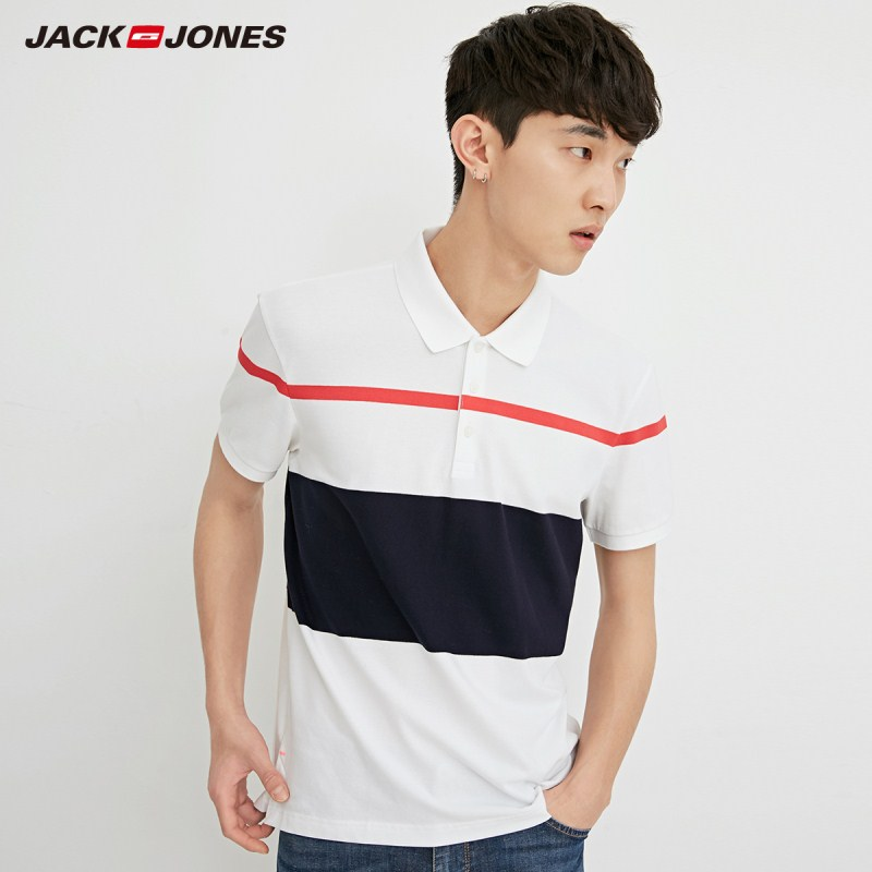 JackJones Men's Stretch Cotton Striped Turn-down Collar Short-sleeved   Polo   Shirt Top Menswear C|218206513