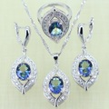 Reginababy Silver color Blue Rainbow White created Topaz Jewelry Sets for Women Wedding Earrings/Ring/Necklace/Pendant