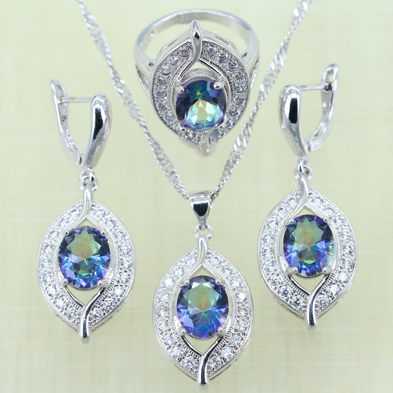 Reginababy Silver color Blue Rainbow White crystal Jewelry Sets for Women Wedding Earrings/Ring/Necklace/Pendant with 925 logo viennois new blue crystal fashion rhinestone pendant earrings ring bracelet and long necklace sets for women jewelry sets