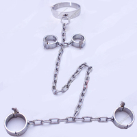 stainless steel bondage restraints handcuffs for sex+collar bdsm fetish+Shackle legcuffs bondage set adult games toy for couples