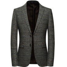 Men Jacket With Elbow Patch Plaid Tweed Suit Jackets Slim Fit Casual Business Dress Blazer Male Elgland Style