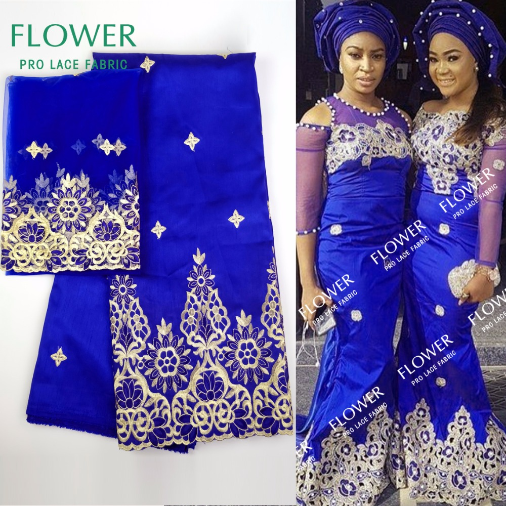 2018 African George Lace Fabric With Blouse Indian Royal Blue Lace Fabric With Blouse For Nigeria