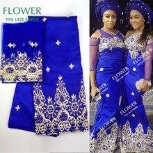 Африканская Джордж кружевная ткань с блузкой индийская Королевская Синяя кружевная ткань с блузкой для нигерийского свадебного платья шелковая кружевная ткань