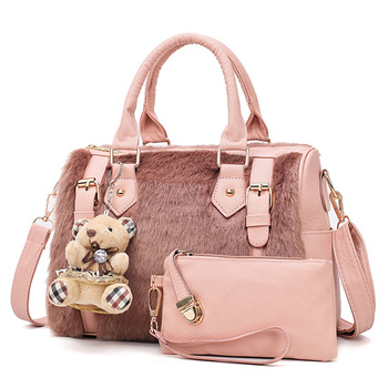 Fashion Designer Luxury Women Leather Handbags Shoulder Plush Bag Famous Ladies Boston Bags Bolsos Mujer De Marca Famosa 2018