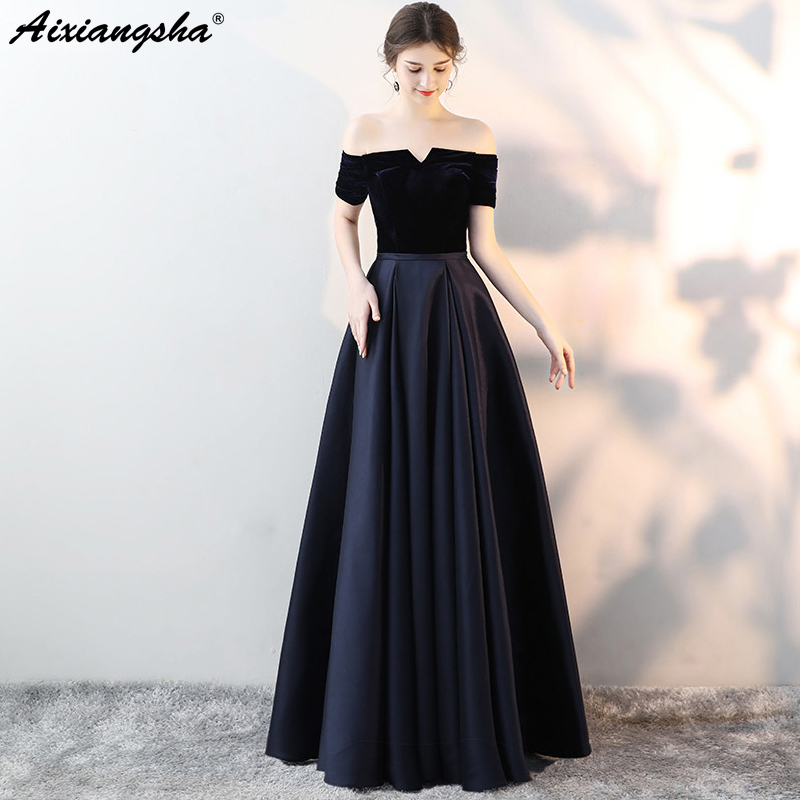 Chiffon Black Prom Dresses 2018 A Line Boat Neck Long Dress Elegant