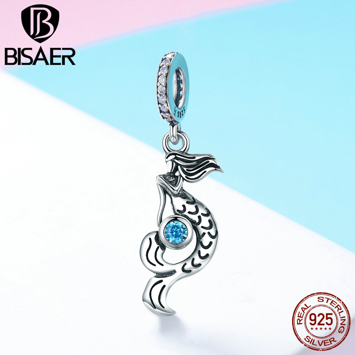 Pendant 925 Stering Silver Blue CZ Elegant Mermaid Charm for Women 925 Original Bracelet Beads for Jewelry Making GXC824