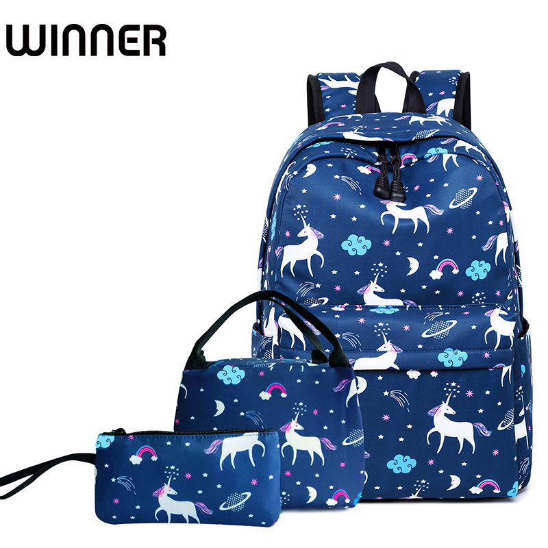 3pcs/set Women Unicorn Printing Backpack Student Book Bag with Lunch Box Bags Laptop Bagpack Lady School Bag for Teenager Girls canvas printing women backpack student book bag with phone bag laptop 3pcs set girls school bag for teenager bagpack female