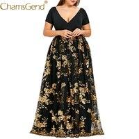 6 Color Elegant Women Plus Size V Neck Short Sleeve Floral Sequined Evening Party Mesh Lace Dress XL,2XL,3XL,4XL,5XL 90409