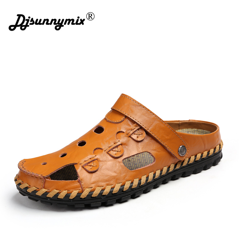 DJSUNNYMIX High quality Men sandals Outdoor male Genuine leather Shoes Summer Men Slippers Breathable Sandalias цена 2017