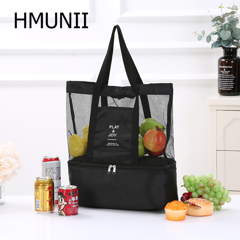 HMUNII 2019 New Hot Fashion Travel Accessories Double-Deck Leisure Grid Bag Women Bags Men Storage Bags Holder Case Organizers