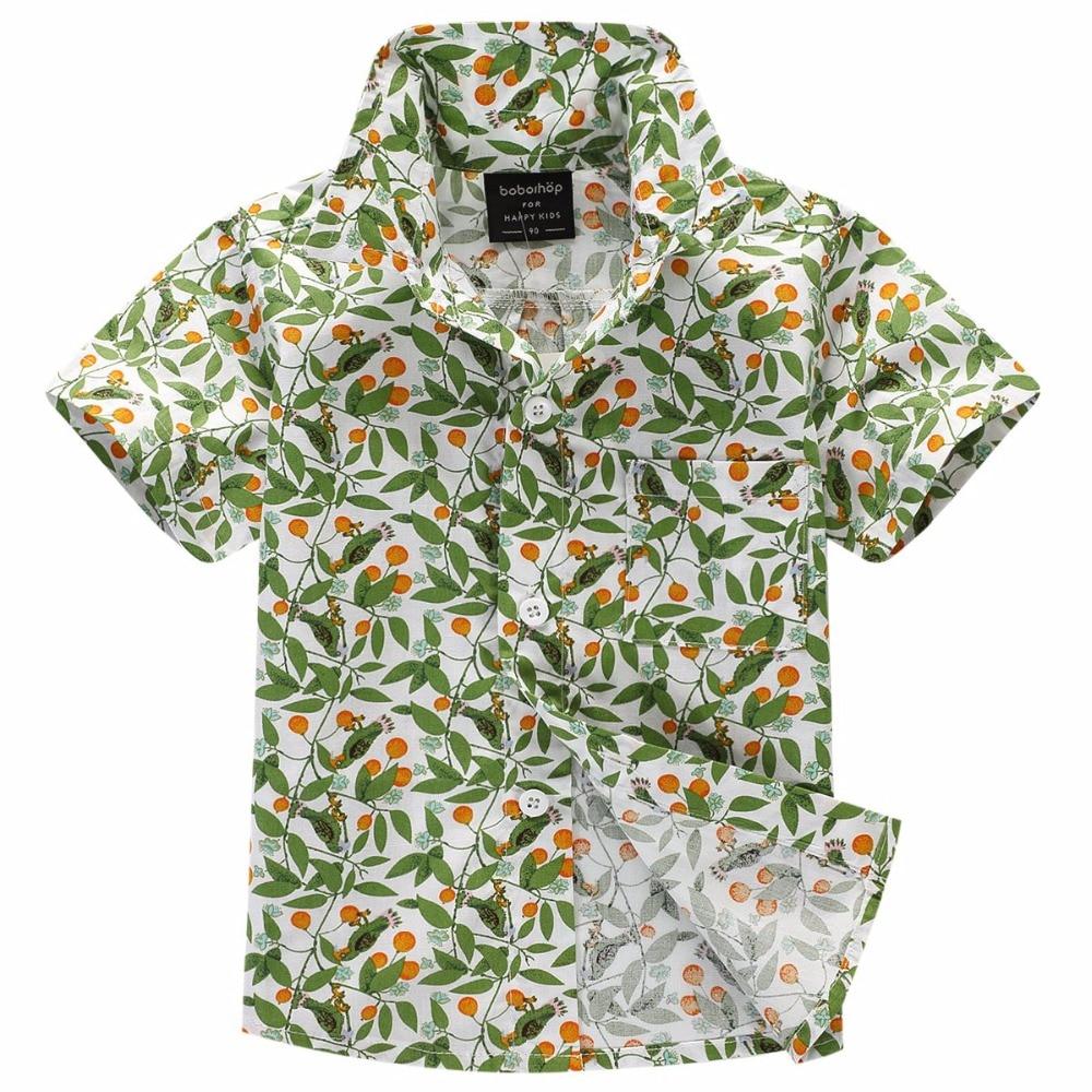 2017. gada jaunpienācēja kokvilna 100% ziedu krekls Havaju kreklu - Bērnu apģērbi