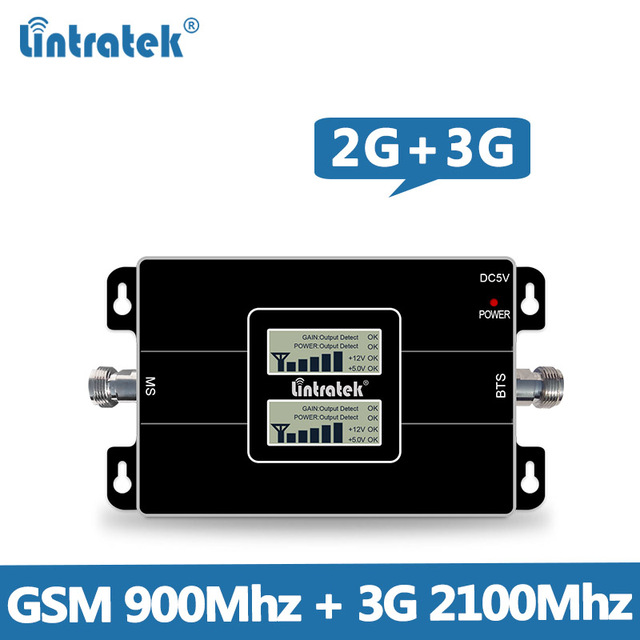 Lcd ekran Kazanç 65dB Çift Bant Sinyal Güçlendirici GSM 900 MHz + UMTS 2100 MHz 2G 3G GSM WCDMA KENAR/HSPA Mobil sinyal Tekrarlayıcı @ 4.8