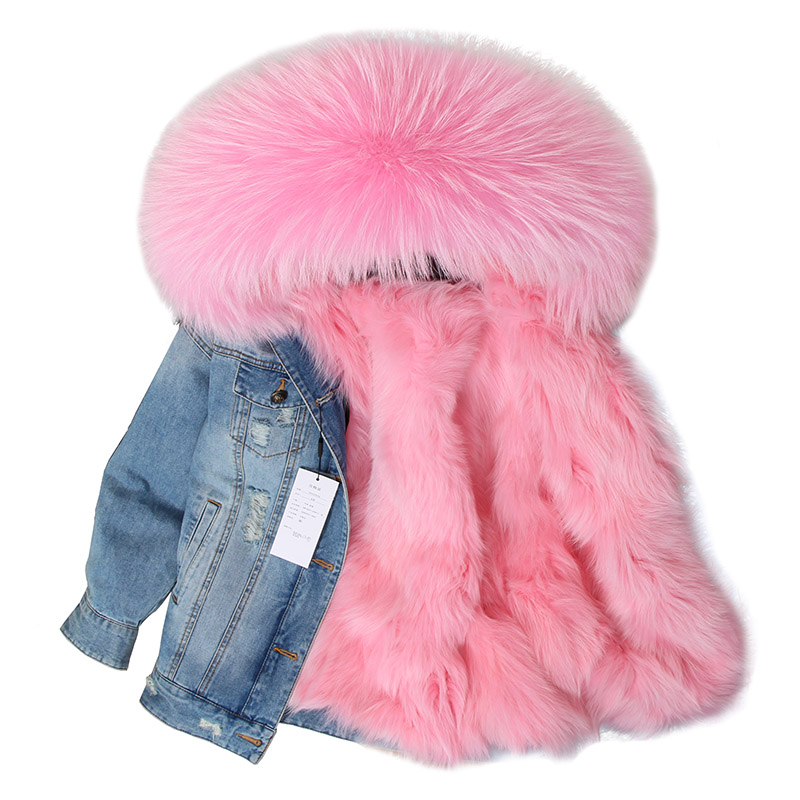 Maomaokong denim jacket natural fox fur lined jacket coat(China)