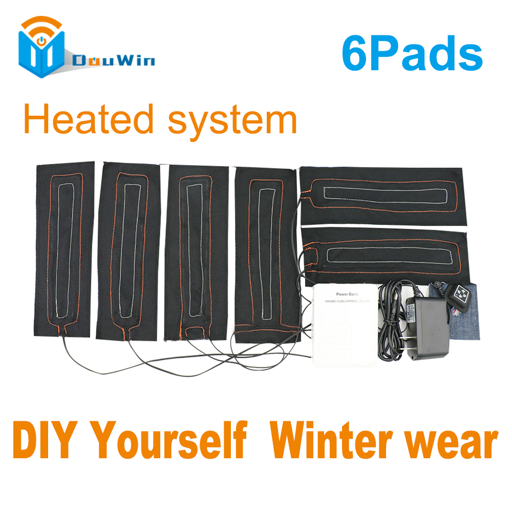 Battery Heated System with 6 Pads Super Warm Protect your boday in the winter Carbon Fiber Heated Parts for worker jacket DouWin super junior world tour in seoul super show 6 special photobook release date 2016 01 08 kpop