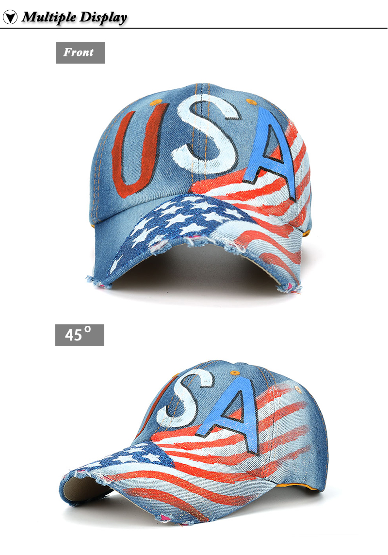 """""""USA"""" Flag Screen Print Dad Hat - Front and Front Angle Views"""