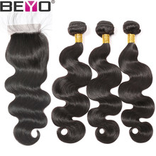 Beyo Brazilian Hair Weave 3 Bundles With Closure Free Part Body Wave Human Hair Bundles With Closure Non Remy Hair Extension(China)