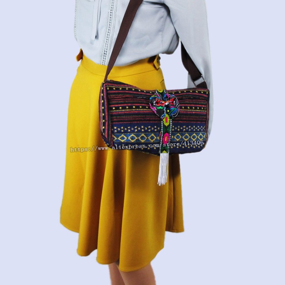 Free shipping Vintage Hmong Tribal Ethnic Thai Indian Boho shoulder message bag andmade embroidery floral Tapestry bag SYS-1014