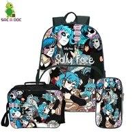Sally Face Bagpack Teenage Travel Bag Girls Boys School Backpacks with Cute Pencil Case Kawaii Anti Theft Backpack 3Pcs/Sets