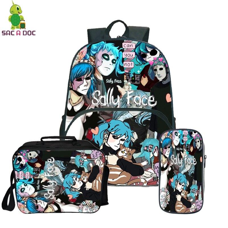 Sally Face sac à dos sac de voyage pour adolescentes filles garçons sacs à dos d'école avec trousse mignonne Kawaii sac à dos antivol 3 pièces/ensembles