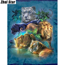 "Full Square Diamond 5D DIY Diamond Painting ""Tiger Leopard Lion"" Embroidery Cross Stitch Rhinestone Mosaic Painting Decor Gift"