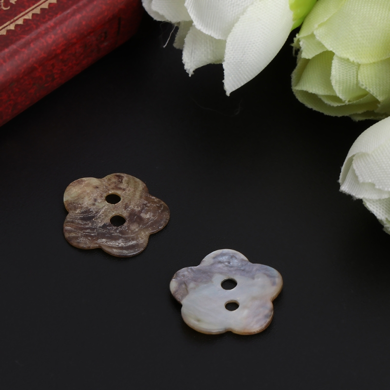100Pcs 14mm Mother Of Pearl Flower Shell Sewing Button 2 Holes Sewing DIY Craft