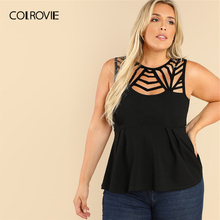 COLROVIE Plus Size Black Cut Out Ruffle Textured Sexy Peplum Top Blouse Women 2019 Summer Sleeveless Shirt Casual Ladies Blouses